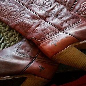 Frye deep red women's heeled to knee boots